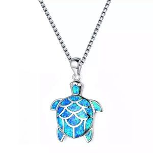 Sterling Silver Blue Opal Turtle Necklace